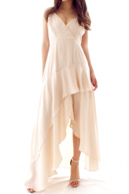 Sarah asymmetric maxi dress Ivory