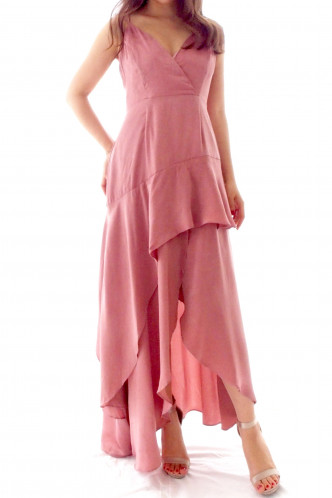 Sarah asymmetric maxi dress rose pink
